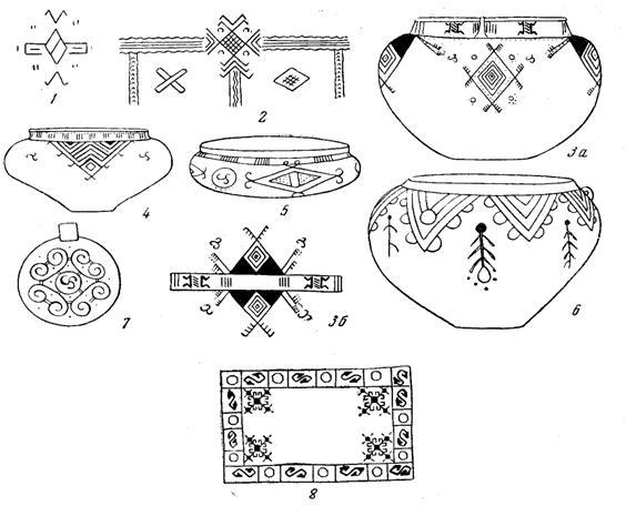 Посуда с орнаментом геометрических фигур для раскраски